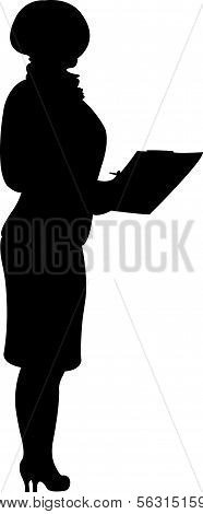 teacher taking notes, black color silhouette vector