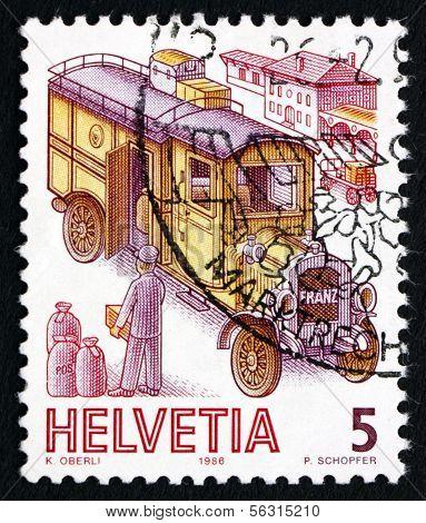 Postage Stamp Switzerland 1986 Franz Mail Van, 1911