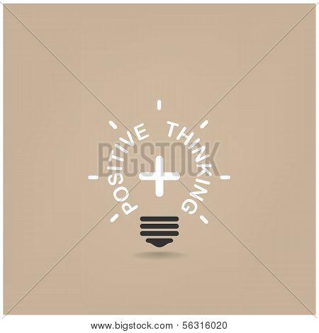 Positive Thinking Lihgt Bulb Shape