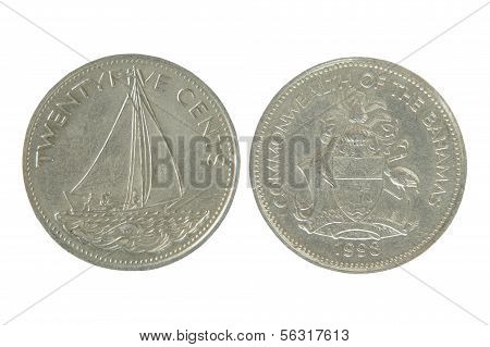Commonwealth Of The Bahamas Twenty Five Cents.isolated.
