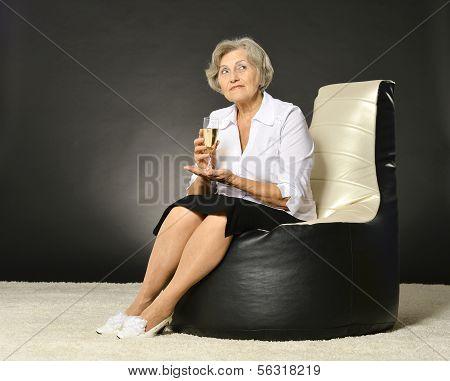 Thoughtful senior woman portrait