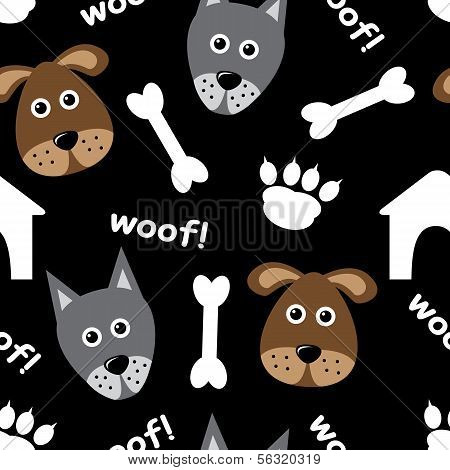 Cartoon seamless pattern with dogs