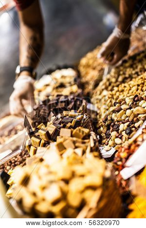 Dried Fruits At The Market (la Boqueria, Barcelona Famous Place)