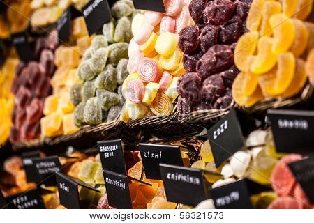 Market Stall Full Of Candys In La Boqueria Market. Barcelona. Catalonia.