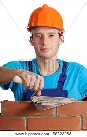 Bricklayer With Putty Knife