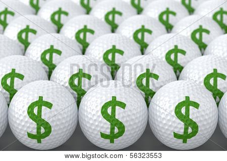 Golf Balls with Dollar Sign