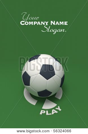 Soccer ball against a green background with the play symbol