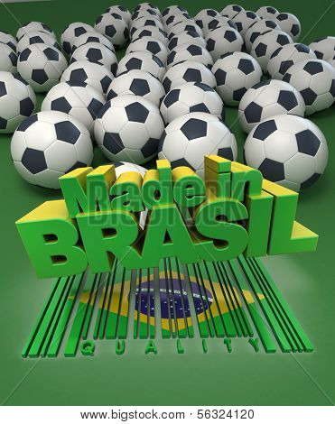 Soccer balls against a green background with the words made in Brasil