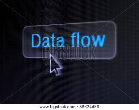 Conceito de dados: fluxo de dados no plano de fundo do botão digital