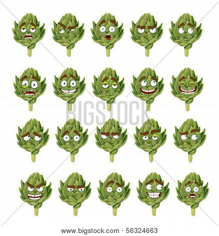 green fresh useful eco-friendly artichoke smiles emotions