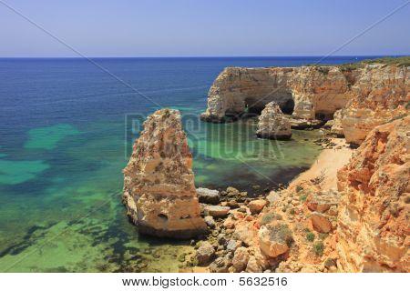 Beach Praia Da Marinha In Algarve