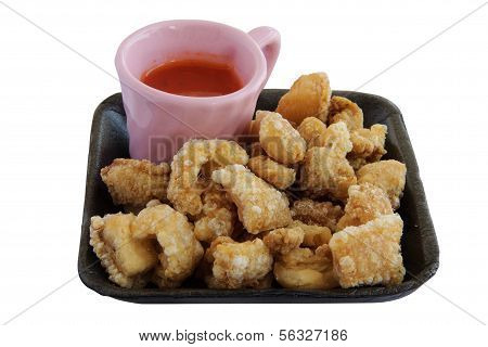 Fried Pork Rinds With Sauce An Isolate