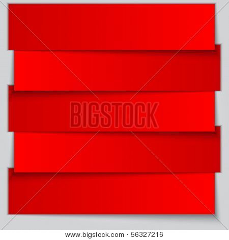 Vector red paper banner list