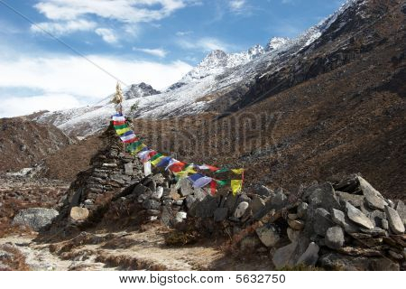 Old Stupa With Prayer Flags, Everest Region, Nepal