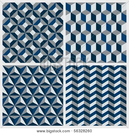 Set of geometric seamless patterns. Vector illustration
