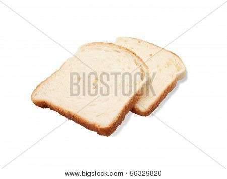 Two Slices White Bread Isolated On White Background
