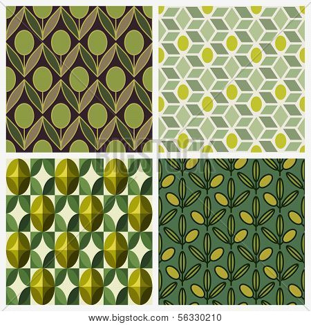 Olive. Set Of Vector Seamless Backgrounds