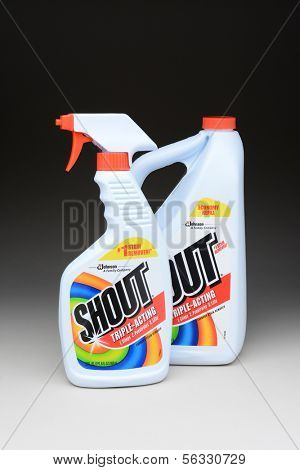 IRVINE, CA - January 11, 2013: A 22 oz bottle of Shout Laundry Stain Remover and a 60 oz refill bottle. Shout products are designed to help remove stains from clothing.
