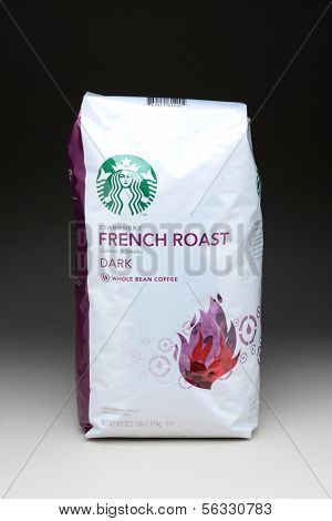 IRVINE, CA - January 21, 2013: A 40 ounce bag of Starbucks French Roast Coffee Beans. Seattle based Starbucks is the largest coffeehouse company in the world, with over 20,000 stores in 62 countries.