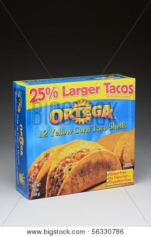 IRVINE, CA - January 21, 2013: A 12 count box of Ortega Taco Yellow Corn Shells. The Shells are made with 100% whole kernel corn.
