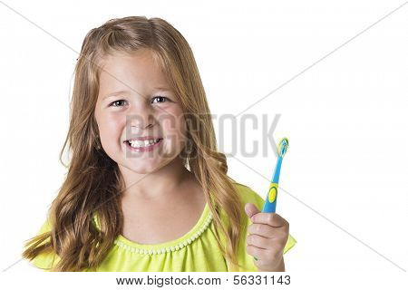 Cute Little Girl Brushing her teeth isolated on white