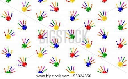 Seamless tablecloth with hand palms