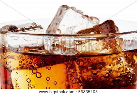 Fragment Of Glass Cola With Ice