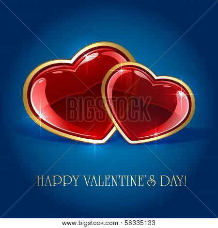 Two hearts on blue background