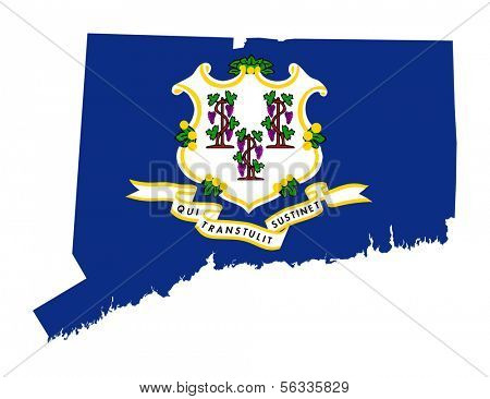 State of Connecticut flag map isolated on a white background, U.S.A.