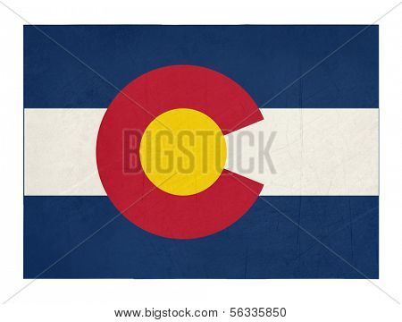 Grunge state of Colorado flag map isolated on a white background, U.S.A.