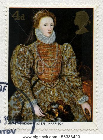 British Postage Stamp Featuring A Portrait Of Queen Elizabeth I
