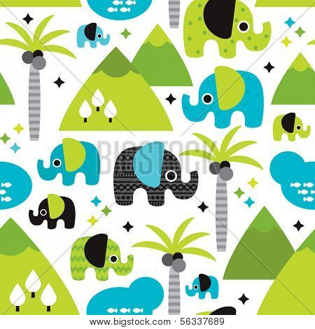 Seamless kids elephants woodland with palm tree illustration background pattern in vector