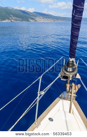 Bow Of Sailing Boat / Yacht With Blue Sea