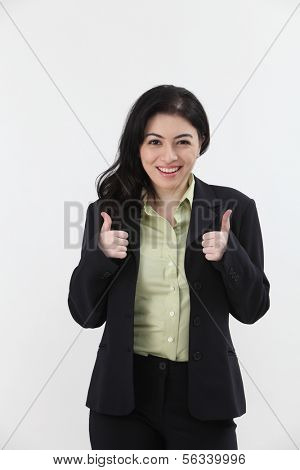 happy businesswoman with double thumb's up