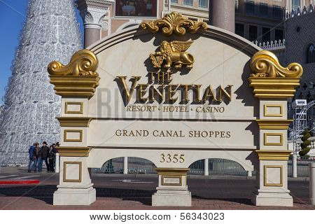 The Venetian Hotel Sign In Las Vegas, Nv On December 10, 2013