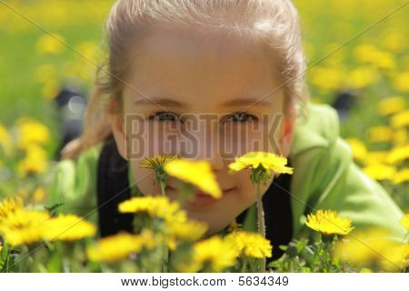 A girl is in dandelions