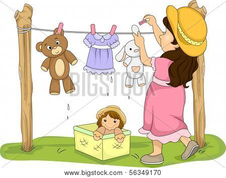 Illustration of a Little Girl Hanging Her Stuffed Toys to Dry