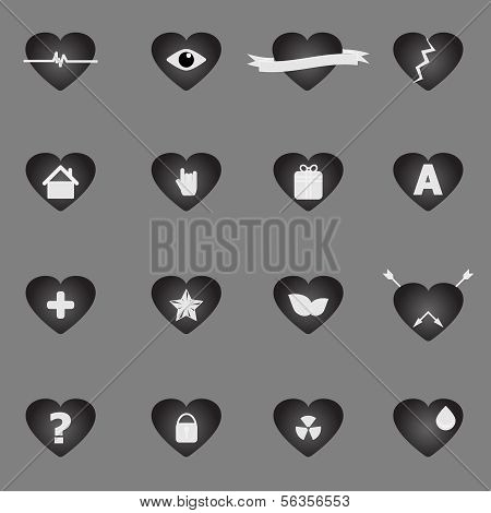 General Symbol In Heart Shape Icons