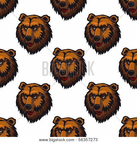 Seamless Pattern Of Brown Bear Head Trophies