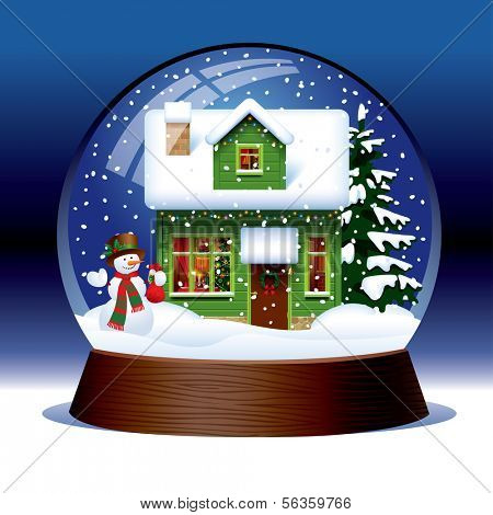Vector snow globe with snowman, green wooden Christmas house covered with snow and spruce within against a dark blue background