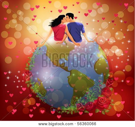 woman and man kissing on the globe