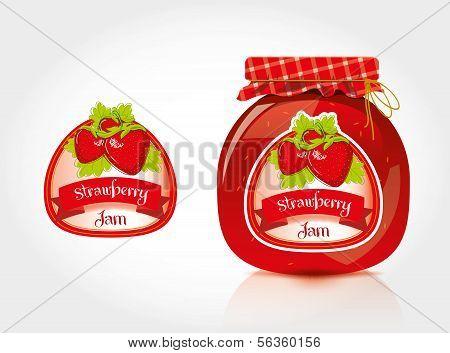 Erdbeermarmelade Etikett mit Glas