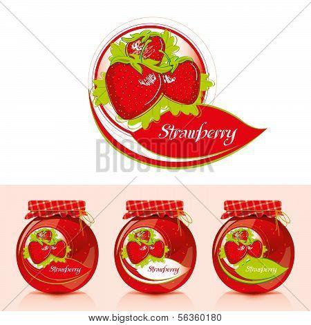 Strawberry jam label with jar