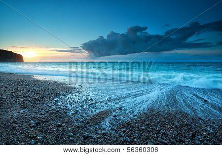 Sunset Over Atlantic Ocean Beach
