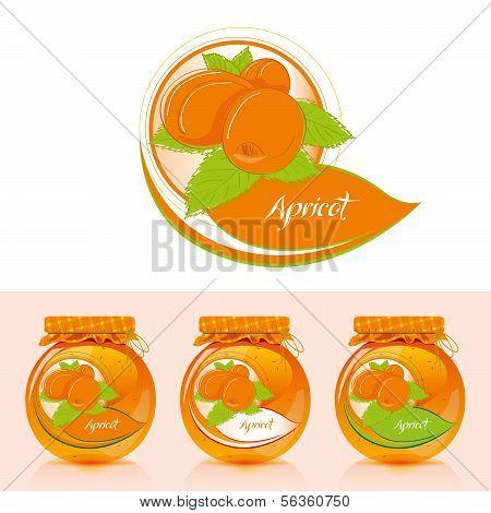 Apricot jam label with jar