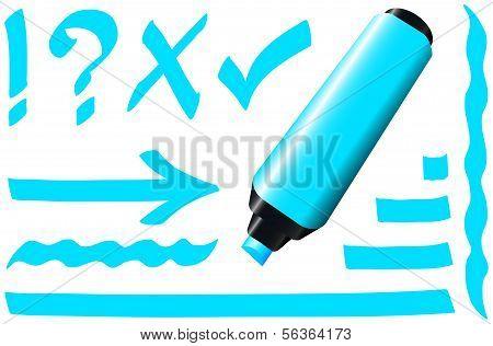 Marcador fluorescente azul