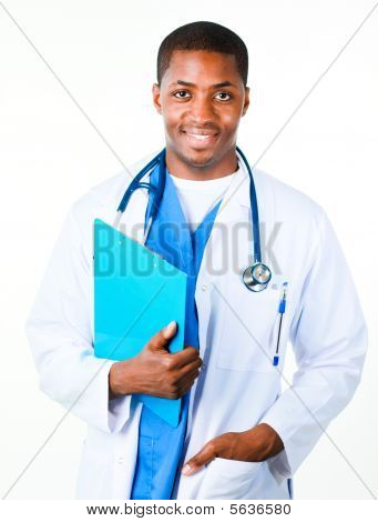 Happy Doctor Holding A Clipboard