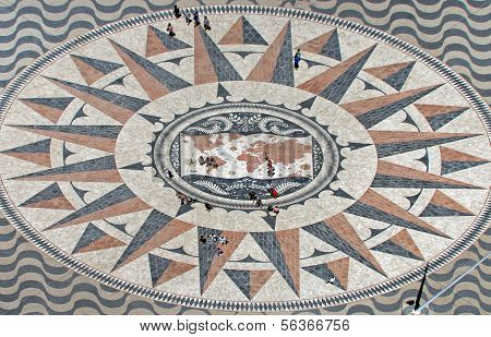 Mosaic in front of the monument  Padrao dos Descobrimentos in Lisbon