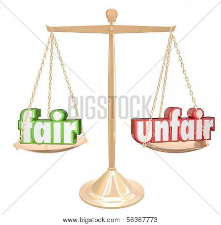 Fair Vs Unfair Words Balance Scale Compare Justice