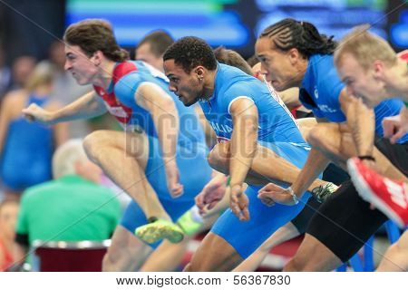 GOTHENBURG, SWEDEN - MARCH 1 Paolo Dal Molin (Italy) 2nd places 2nd in the men's 60m hurdles finals during the European Athletics Indoor Championship on March 1, 2013 in Gothenburg, Sweden.
